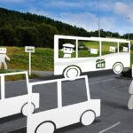 Illustrasjon over buss og parkerte biler