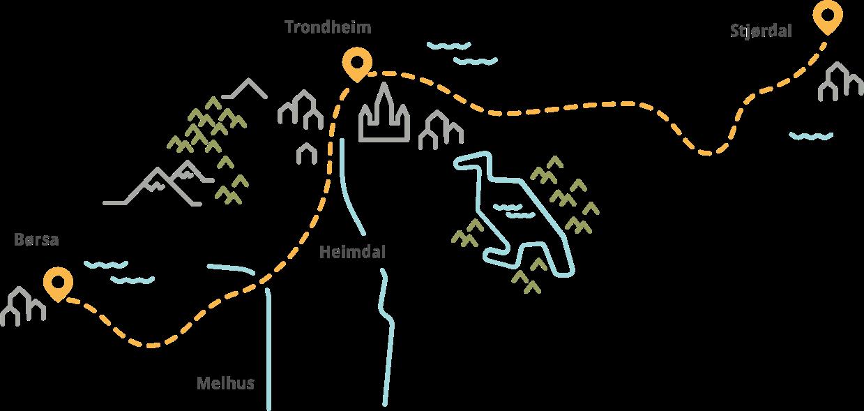 Kart over Trondheim, Stjørdal og Børsa