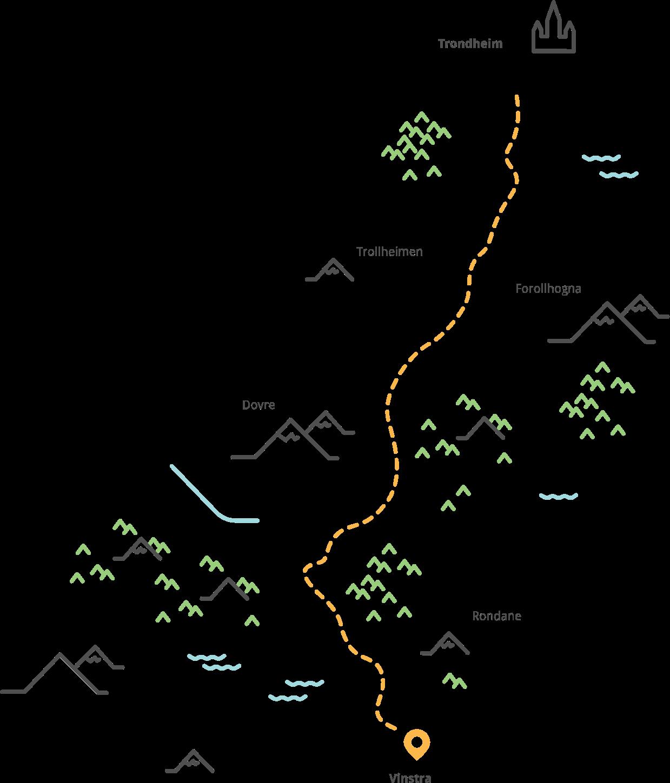 Illustrasjon av avstanden fra Trondheim til Vinstra